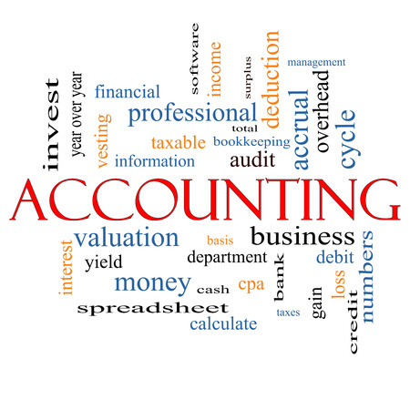 vesting: Accounting Word Cloud Concept with great terms such as debit, loss, audit, yield and more. Stock Photo