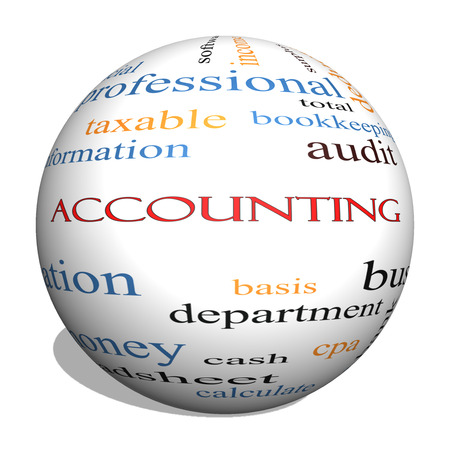 vesting: Accounting 3D sphere Word Cloud Concept with great terms such as debit, loss, audit, yield and more.