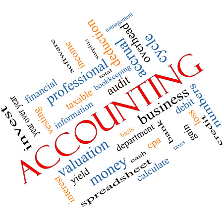 Accounting Word Cloud Concept Angled with great terms such as debit, loss, audit, yield and more. photo