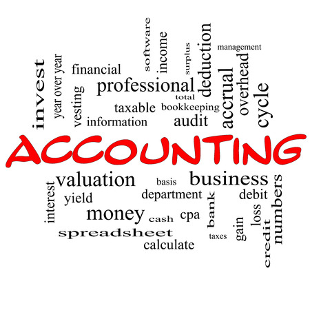 vesting: Accounting Word Cloud Concept in red caps with great terms such as debit, loss, audit, yield and more. Stock Photo