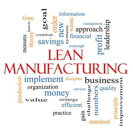 Lean Manufacturing Word Cloud Concept with great terms such as quality, discipline, concept and more. photo