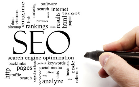 backlinks: Hand writing in black marker SEO Word Cloud Concept with great terms such as search, engine, optimization and more.
