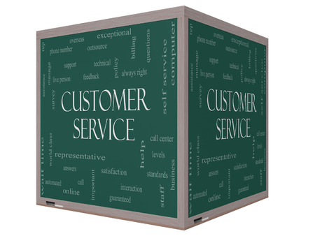 Customer Service Word Cloud Concept on a 3D cube Blackboard with great terms such as call center, help, staff, rep and more. photo