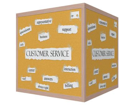 reps: Servicio al Cliente cubo 3D Corkboard Palabra concepto con grandes t�rminos como representante, apoyo, llamadas y m�s.