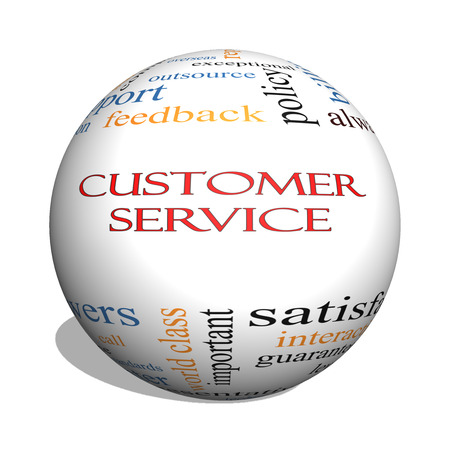 Customer Service 3D sphere Word Cloud Concept with great terms such as call center, help, staff, rep and more.