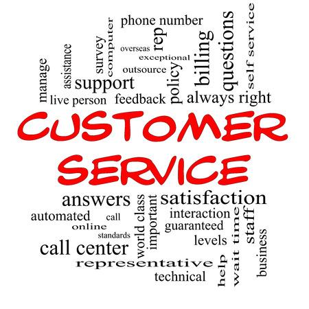 reps: Servicio al Cliente Palabra Nube Concepto de gorras rojas con grandes t�rminos como centro de llamadas, ayuda, el personal, representante y m�s.