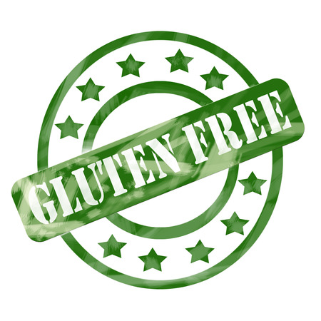 A green ink weathered roughed up circles and stars stamp design with the word GLUTEN FREE on it making a great concept.