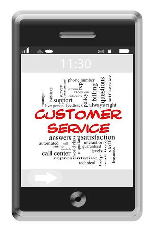 reps: Servicio al Cliente Palabra Nube Concepto de tel�fono con pantalla t�ctil con los t�rminos tales como centros de llamadas, ayuda, representante y m�s. Foto de archivo