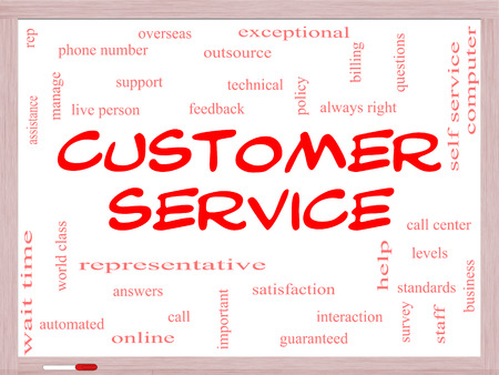Customer Service Word Cloud Concept on a Whiteboard with great terms such as call center, help, staff, rep and more. photo