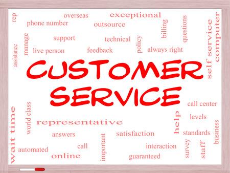 reps: Servicio al Cliente Palabra Nube Concepto en una pizarra con los t�rminos de la talla de centro de llamadas, ayuda, el personal, representante y m�s.
