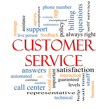 standards: Customer Service Word Cloud Concept with great terms such as call center, help, staff, rep and more.