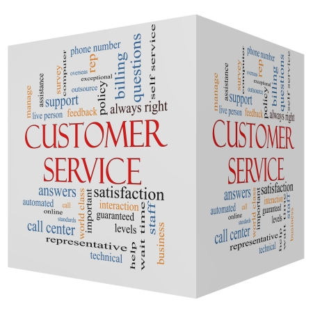 Customer Service 3D cube Word Cloud Concept with great terms such as call center, help, staff, rep and more. photo