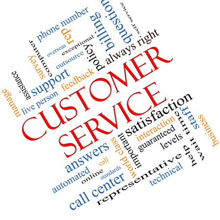 Customer Service Word Cloud Concept angled with great terms such as call center, help, staff, rep and more. photo