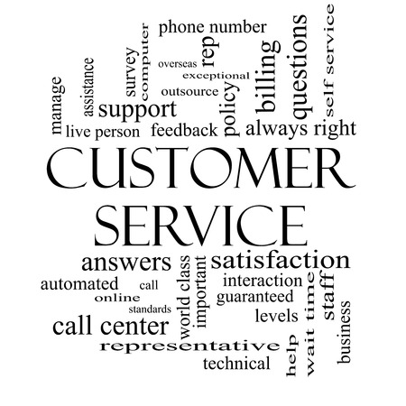 Customer Service Word Cloud Concept in black and white with great terms such as call center, help, staff, rep and more. photo