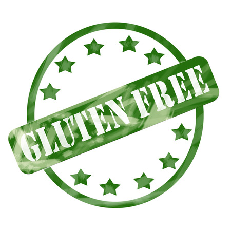 A green ink weathered roughed up circle and stars stamp design with the word GLUTEN FREE on it making a great concept. photo