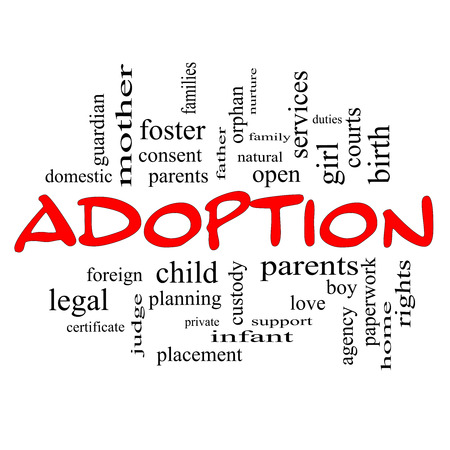 foster: Adoption Word Cloud Concept in red caps with great terms such as baby, parent, rights, love and more.