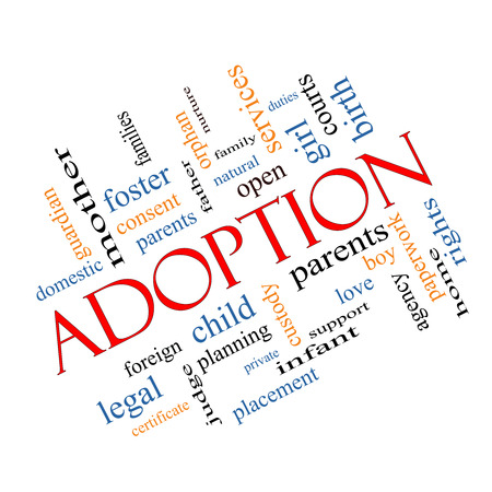 legal services: Adoption Word Cloud Concept Angled with great terms such as baby, parent, rights, love and more.