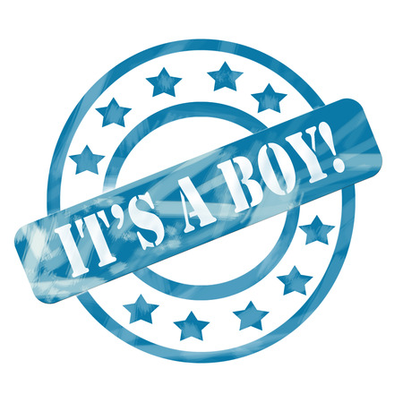 A blue ink weathered roughed up circles and stars stamp design with the word ITS A BOY! on it making a great baby concept.