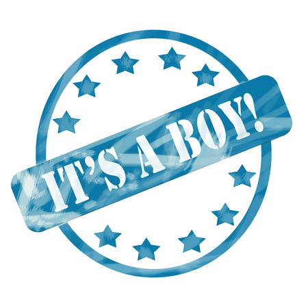 its a boy: A blue ink weathered roughed up circle and stars stamp design with the word ITS A BOY! on it making a great baby concept. Stock Photo
