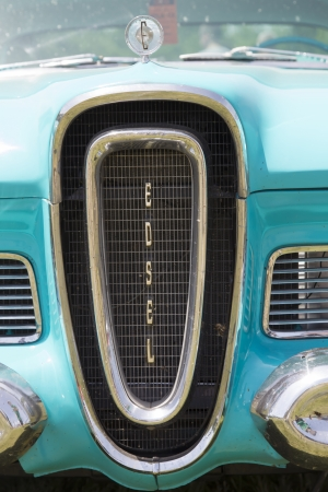 citation: IOLA, WI - JULY 13:  Grill of 1958 Blue Edsel Citation car at Iola 41st Annual Car Show July 13, 2013 in Iola, Wisconsin.