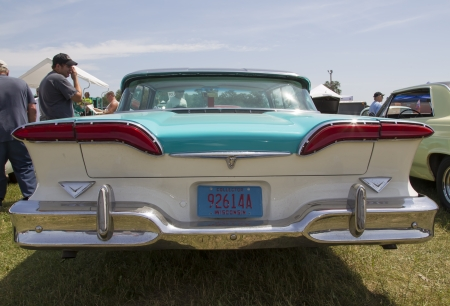 citation: IOLA, WI - JULY 13:  Back of 1958 Blue Edsel Citation car at Iola 41st Annual Car Show July 13, 2013 in Iola, Wisconsin.