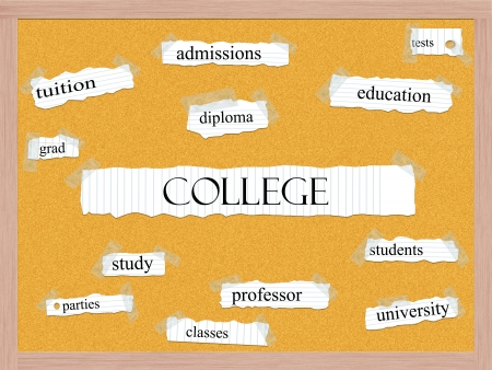 College Corkboard Word Concept with great terms such as tests, education, diploma and more.
