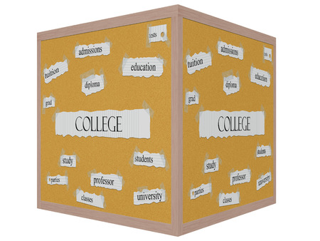 admissions: College 3D cube Corkboard Word Concept with great terms such as tests, education, diploma and more.
