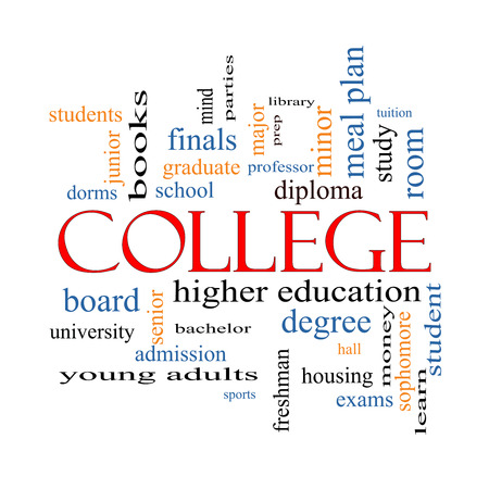 College Word Cloud Concept with great terms such as tuition, study, student, major and more. Stock Photo