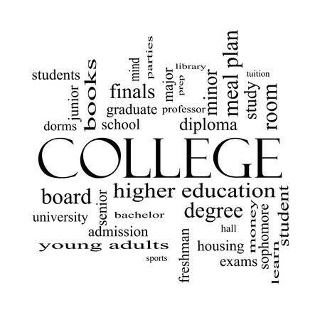 College Word Cloud Concept in black and white with great terms such as tuition, study, student, major and more.