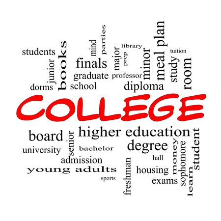 prep: College Word Cloud Concept in red caps with great terms such as tuition, study, student, major and more.