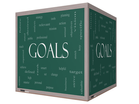 Goals Word Cloud Concept on a 3D cube Blackboard with great terms such as planning, missions, smart, set, high and more. photo
