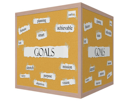 achievable: Goals 3D cube Corkboard Word Concept with great terms such as high, future, smart, planning, yearly and more.