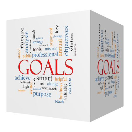 Goals 3D cube Word Cloud Concept with great terms such as planning, missions, smart, set, high and more.