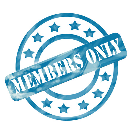 only members: A blue ink weathered roughed up circles and stars stamp design with the word MEMBERS ONLY on it making a great concept.