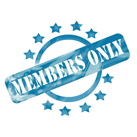 only members: A blue ink weathered roughed up circle and stars stamp design with the word MEMBERS ONLY on it making a great concept.