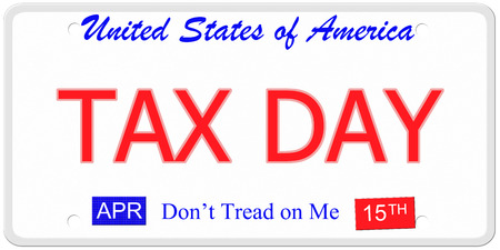 An imitation United States License Plate with the words TAX DAY and April 15th on it with Dont Tread on Me. photo