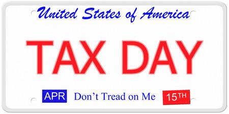 Een imitatie Verenigde Staten kenteken met de woorden TAX DAY en 15 april op het met Betreed niet op me. Stockfoto