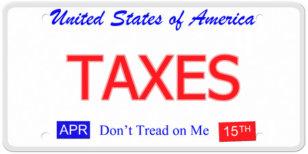 An imitation United States License Plate with the words TAXES and April 15th on it with Dont Tread on Me. photo