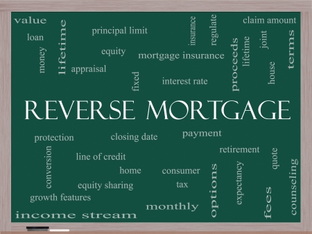 proceeds: Reverse Mortgage Word Cloud Concept on a Blackboard with great terms such as payment, equity, quote, fees and more. Stock Photo