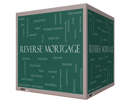 reverse: Reverse Mortgage Word Cloud Concept on a 3D cube Blackboard with great terms such as payment, equity, quote, fees and more. Stock Photo