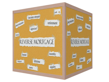 Reverse Mortgage 3D cube Corkboard Word Concept with great terms such as retirement, payments, money and more. Stock Photo