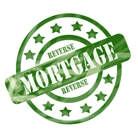 A green ink weathered roughed up circles and stars stamp design with the word REVERSE MORTGAGE on it making a great concept.