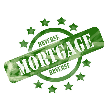 reverse: A green ink weathered roughed up circle and stars stamp design with the word REVERSE MORTGAGE on it making a great concept.