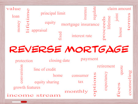 proceeds: Reverse Mortgage Word Cloud Concept on a Whiteboard with great terms such as payment, equity, quote, fees and more.