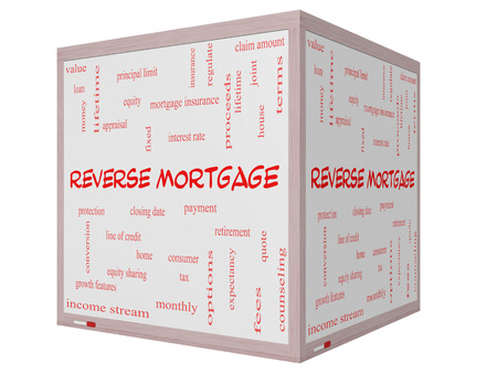 Reverse Mortgage Word Cloud Concept on a 3D cube Whiteboard with great terms such as payment, equity, quote, fees and more.