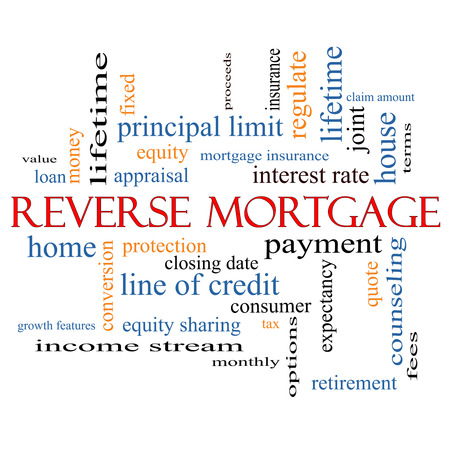 fixed rate: Reverse Mortgage Word Cloud Concept with great terms such as payment, equity, quote, fees and more. Stock Photo