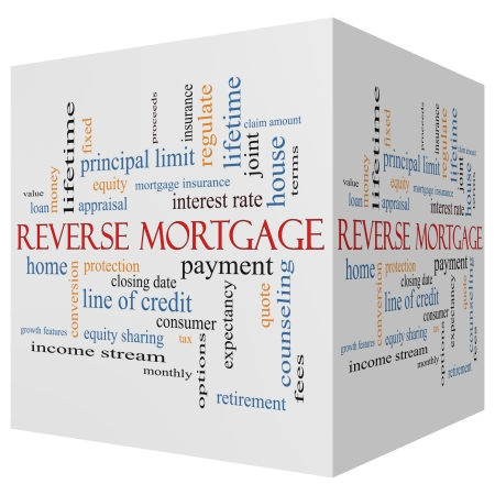 mortgage rates: Reverse Mortgage 3D cube Word Cloud Concept with great terms such as payment, equity, quote, fees and more.