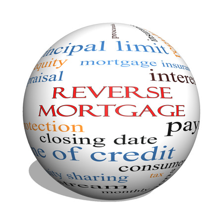mortgage rates: Reverse Mortgage 3D sphere Word Cloud Concept with great terms such as payment, equity, quote, fees and more. Stock Photo