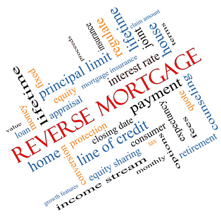 Reverse Mortgage Word Cloud Concept Angled with great terms such as payment, equity, quote, fees and more.