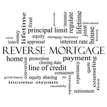 reverse: Reverse Mortgage Word Cloud Concept in black and white with great terms such as payment, equity, quote, fees and more.